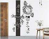 tjapalo s-pkm264 Wanduhr Wandtattoo Uhr Wohnzimmer Wandsticker Wandaufkleber Spruch - in diesen Momenten mit Namen, Datum und großem Uhrwerk (H130xB30cm + Uhr(58x52))