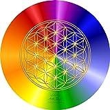atalantes spirit - Blume des Lebens-Mauspad rainbow - Ø 19 cm, rund - Energie-Untersetzer - MousePad-Unterseite: Moosgummi, schwarz