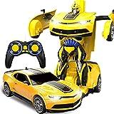 Kikioo Cadeaux Jaune 1/12 Camaro Modèle Autobots ABS Transformateur Stunt Car USB Télécommande sans fil Télécommande à quatre roues motrices Grand Sport Vitesse Véhicule pour enfants Jouets pour passe