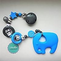 💙 Beißkette Schnullerkette mit Namen Gravur Glocke Silikon Elefant Motorik Geschenk Taufe Geburt individuell Stern | Junge blau Namenskette