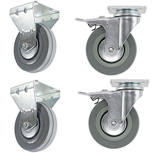 spares2go 100mm schwenkbar//NUR Bremse/Feste Platte Lenkrolle Geschirrspüler Lenkrollen (4Stück) 2 x Swivel Brake & 2 x Fixed Plate (Werkzeugkästen Auf Rädern)