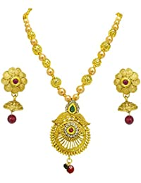 Surat Diamonds Designer Round Shaped Colored Stone, Shell Pearl And Gold Plated Pendant Necklace & Earring Set...
