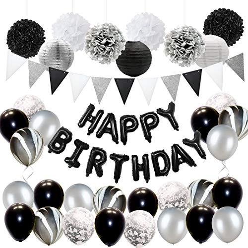 JOYMEMO Schwarz und Silber Geburtstag Partydekorationen für Erwachsene Ballons Set, Seidenpapier Dekorationen und Dreieck Flagge Banner (Dekorationen Weiß Schwarz, Und Silber)