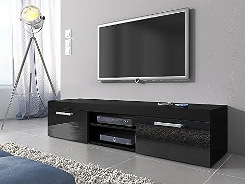 TV Möbel Lowboard Schrank Ständer Mambo schwarz matt/schwarz Hochglanz 160 (37 Legno Porta Tv)