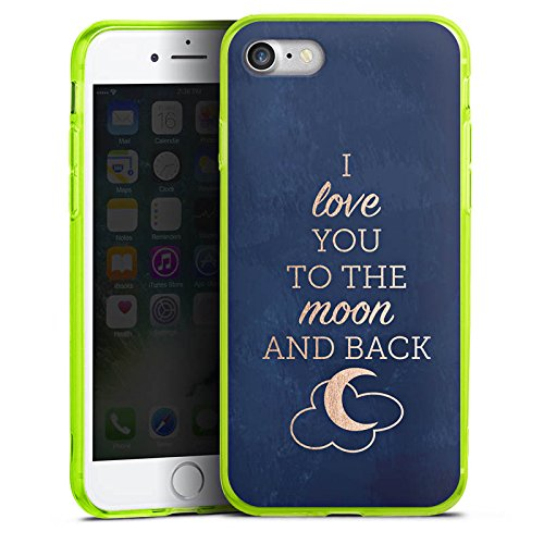 Apple iPhone 7 Silikon Hülle Case Schutzhülle Sprüche Moon I Love You Love Silikon Colour Case neon-grün