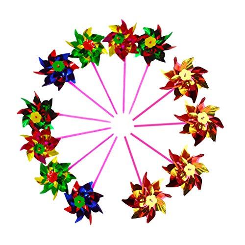 Toyvian - Juego de molinillos de Viento, 12 Colores Surtidos, para niños y niñas de 3 años y más...