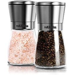 yokamira Moulin à Poivre et sel Manuel, Set de 2 Salière et la Poivrière en Acier INOX et Verre avec Meule en Céramique Réglable Broyeur à épices