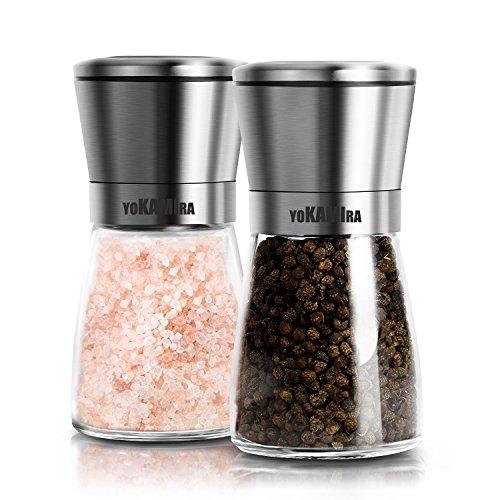 2ps Pepper Mills LessMo acciaio inossidabile pepe e sale Mill Grinder Set