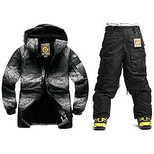 South Play Mens Wasserdicht Two Tone Military Design Ski-Snowboard-Jacke Schwarze Hosen eingestellt