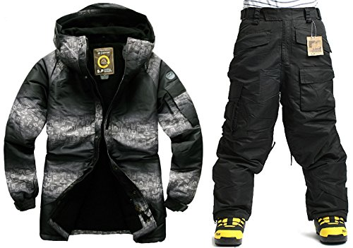 South play Mens Wasserdicht Two Tone Military Design Ski-Snowboard-Jacke Schwarze Hosen eingestellt (Small)
