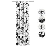 Schlaufenschal Vorhang Blickdicht Malisa, Auswahl: Weiß mit schwarzen Druck