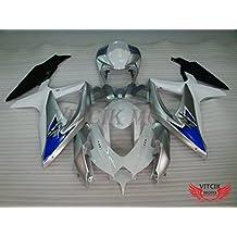 VITCIK (Kit de Carenado para Suzuki GSXR600-750 K8 2008 2009 2010 GSXR 600 750 K8 08 09 10) Accesorios de repuesto para bastidor y carrocería con completo para motocicleta y moldeo por inyección en ABS(Plata & Blanco) A037