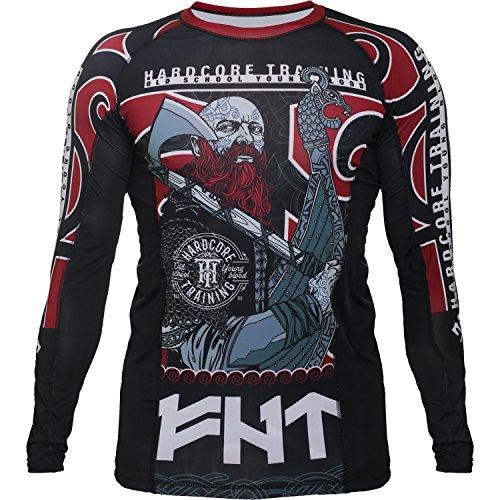 Hardcore Training Rash Guard For Men - Compression Shirt - Long Sleeve MMA Fitness Gym Crossfit-Black/Grey-m Camisa de Compresión