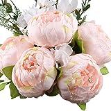 Amkun - Bouquet vintage di peonie artificiali in seta, ornamento per casa e matrimoni, confezione da 1 Spring Pink