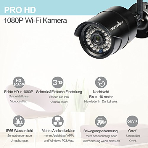 Wansview 1080P IP Kamera Aussen / Sicherheitskamera für Außen / HD Überwachungskamera / HD IP cam mit LAN & Wlan / Wifi für Outdoor W2 (1080P) - 3