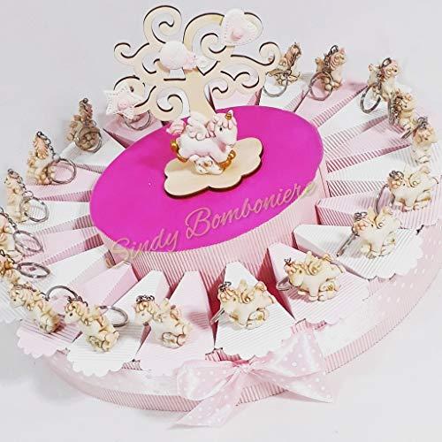 Torte Bomboniere Geburt Taufe für Mädchen Einhorn Schlüsselanhänger marmoriert torta 35 fette