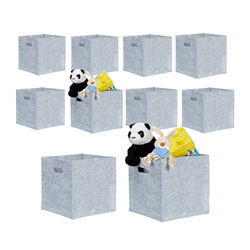 10er Set quadratische Filzkörbe, faltbar, mit 2 Trageöffnungen, schicke Regalkörbe, H x B x T: 30 x 30 x 30 cm (Grau) (Regal-korb-set)