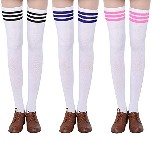 Chalier 3 Paar Damen Lange Gestreifte Socken über Knie Oberschenkel Hohe Socken Strumpf