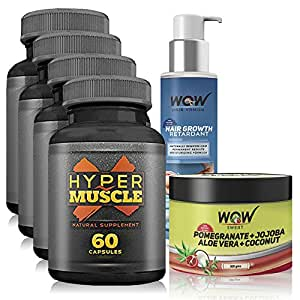 Wow Hyper Muscle X -60 capsules (Pack of 4), Wow Sweat - 300 g - (Pack of 1) & WOW HAIR VANISH-100 ML (Pack of 1)