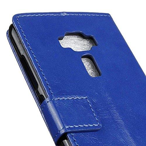Verrückte Pferd Textur Solide Farbe Leder Schutzhülle Flip Stand Case Wallet mit Karte Cash Slots für Asus Zenfone 3 Deluxe ZS570KL 5.7 ( Color : White , Size : Zenfone 3 Deluxe ZS570KL 5.7 ) Blue