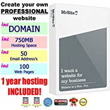 "Mr Site PRO ""Website in a box"" Professional Easy-to-Use Website Creation Designer Software WITH 1 YEAR FREE HOSTING! (includes: dot.com Domain, 50 email address, 750mb space, 100 web pages, SEO tools + much more!)"
