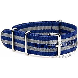 GENUINE BURAN01Military Nylon Watch Band with Dark Blue/Grey 22mm Watch Strap