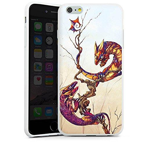 Apple iPhone X Silikon Hülle Case Schutzhülle Drachen Fabelwesen Traumwelt Silikon Case weiß