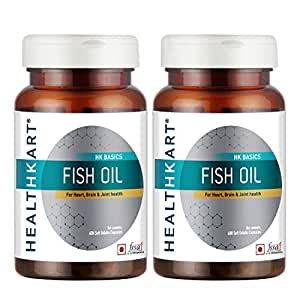 HealthKart Fish Oil (1000 Omega 3, With 180 Mg Epa & 120 Mg Dha)- Pack of 2  (60 Capsules each)