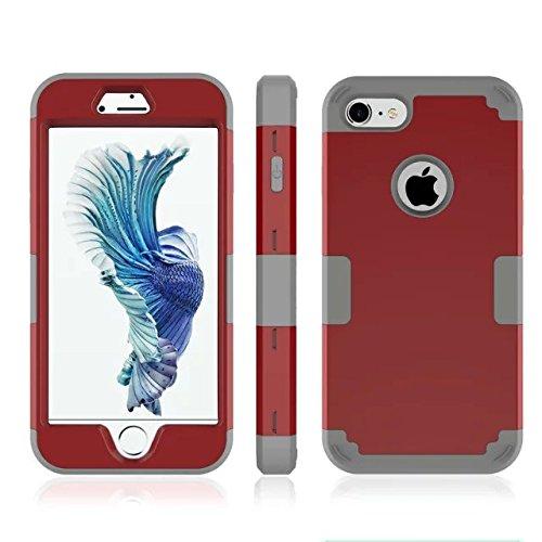 iPhone 7 hülle, Lantier 3 in 1 [weicher harter Tough Case] [Anti Scratch] [Stoßdämpfung ] Leichte Schlank Voll Body Armor Schutzhülle für Apple iPhone 7 (4,7 Zoll) Mint Green + Grau Dark Red+Grey