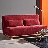Pharao24 Schlafcouch in Rot Stoff Eiche Massivholz Breite 160 cm 3 Sitzplätze