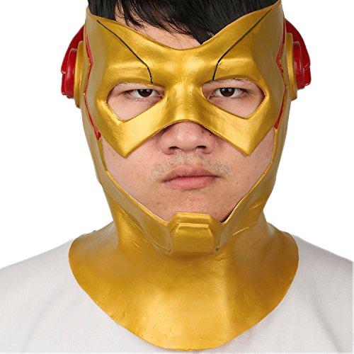 Halloween Maske Latex Voller Kopf Helm Season 3 Cosplay Kostüm Replik für Erwachsene Herren Kleidung Zubehör (Flash Zoom Kostüm)