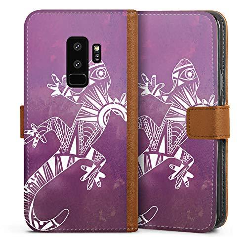 DeinDesign Tasche kompatibel mit Samsung Galaxy S9 Plus Duos Leder Flip Case Ledertasche Eidechse Gecko Mandala -