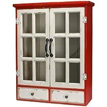 Art Deco Home - Vitrina Pared Madera Retro Blanca 63x51 cm