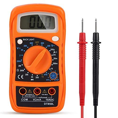Multimetro digitale per auto, per auto, LCD, ACV, DCV, resistenza alla corrente continua, tester di temperatura