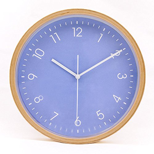 Hippih Silent Wall Clock Wood 8-inches Non Ticking Digital Quiet Sweep Decorative Vintage Wooden Clocks(Purple) -