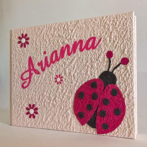 Album fotografico artigianale coccinella e fiori in carta luna con nome intagliato in tela personalizzabile regalo nascita battesimo compleanno vacanze bambina