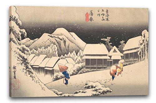Utagawa hiroshige - una sera di neve alla stazione di kambara (edo period (1615–1868)), 80 x 60 cm (diverse dimensioni disponibili), stampa su tela incorniciata su telaio in legno genuino e pronto per appendere, stampa di alta qualità fatta a mano in germania.