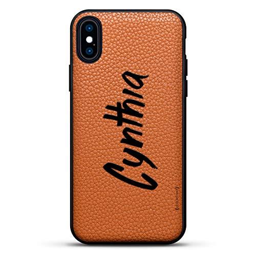 Schutzhülle für iPhone XS Max 16,5 cm (16,5 Zoll), Cynthia, handgeschriebener Stil, aus echtem Leder, mit 3D-Druckmotiv Cynthia Leder