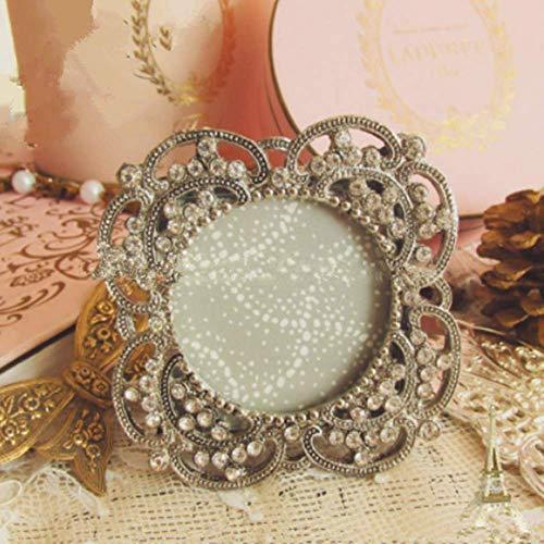Photo frame Foto Marco Vintage Metal Viejo Diamante pequeño Marco Redondo Foto Boda Boda decoración