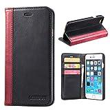Lensun iPhone 6 Hülle iPhone 6s Hülle, Handyhülle iPhone 6/6s (4.7 Zoll) Leder Handytasche Huelle Tasche Flip Case Ledertasche Schutzhülle - Schwarz (6G-FG-BK)