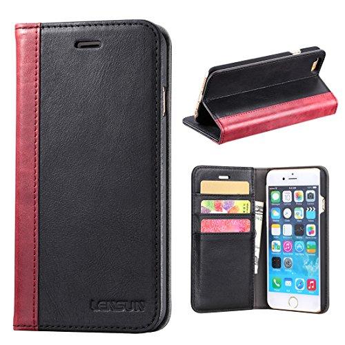 iPhone 6 Plus Hülle iPhone 6s Plus Hülle, Lensun Handyhülle Handytasche iPhone 6 Plus / 6s Plus (5.5 Zoll) Leder Huelle Tasche Flip Case Ledertasche Schutzhülle - Schwarz (6P-FG-BK)