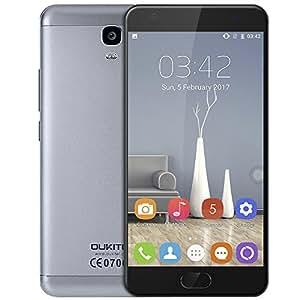 Oukitel K6000 Plus 4G Smartphone, 6080mAh batteria, Display 5.5'' Android 7.0 Processore MTK6750T Octa Core 1.5GHz, 4GB RAM e 64GB ROM, 8.0MP+16.0MP Fotocamera (grigio)