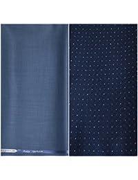 Kundan Sulz Gwalior Men's Executive Pure Cotton Print Shirt Fabric & Fancy Blue Formal Trouser Fabric Combo Set ( 1 Pant and Shirt Piece for Men )