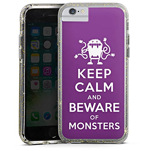 Apple iPhone 6 Bumper Hülle Bumper Case Glitzer Hülle Monster Phrase Saying Bumper Case Glitzer gold