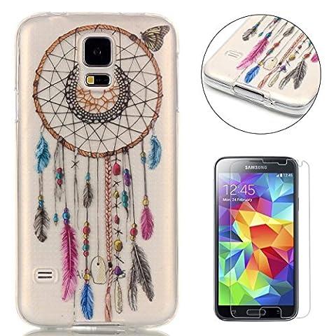 Coque Samsung Galaxy S5 Housse Silicone de Gel [avec Gratuit