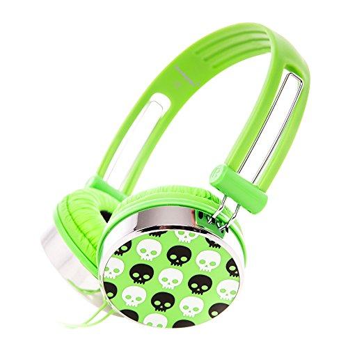 Rockpapa ov870s cranio cuffie per bambini / adulti, regolabile, over-ear headphones per ipod lettore mp3/4 dvd, iphone ipad, pc tv, kindle fire hd verde