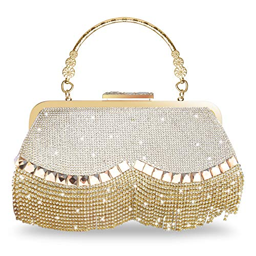 WATACHE Bling Sparkly Strass Crystal Quaste Kupplungen Abend Handtaschen Schulter Cross Body Taschen Geldbörse Brieftasche für Party Hochzeit (Gold) (Gold Abend Tasche)