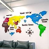 Life HS Espejo de acrílico 3D Etiqueta de la Pared Mapa del Mundo Adecuado para su salón sofá del Fondo Fondo de la Pared de TV, decoración de la Pared removible Etiqueta de la Pared,Negro,XL
