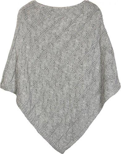 styleBREAKER poncho in maglia con motivo intrecciato, poncho in maglia girocollo, maglia larga, donna 08010040 Grigio chiaro