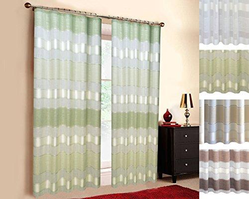 SUNWORLD Maßgeschneiderte Streifen- Deko Gardine Natura, Vorhang nach Maß, Gardine nach Maß, Kräuselband, Maßanfertigung von 70cm bis 330cm Höhe, Grün (Farbmuster 25cm) (Vorhänge Streifen Grüne)